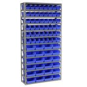 "13 Shelf Steel Shelving with (72) 4""H Plastic Shelf Bins, Blue, 36x12x72"