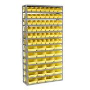 "13 Shelf Steel Shelving with (72) 4""H Plastic Shelf Bins, Yellow, 36x12x72"