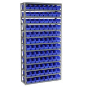 "13 Shelf Steel Shelving with (96) 4""H Plastic Shelf Bins, Blue, 36x12x72"