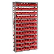 "13 Shelf Steel Shelving with (96) 4""H Plastic Shelf Bins, Red, 36x12x72"