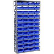 "13 Shelf Steel Shelving with (48) 4""H Plastic Shelf Bins, Blue, 36x18x72"