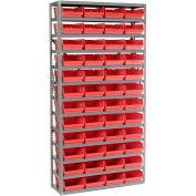 "13 Shelf Steel Shelving with (48) 4""H Plastic Shelf Bins, Red, 36x18x72"