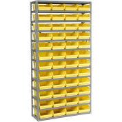 "13 Shelf Steel Shelving with (48) 4""H Plastic Shelf Bins, Yellow, 36x18x72"