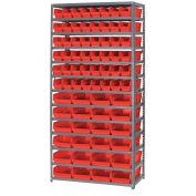 "13 Shelf Steel Shelving with (60) 4""H Plastic Shelf Bins, Red, 36x18x72"
