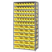 "13 Shelf Steel Shelving with (60) 4""H Plastic Shelf Bins, Yellow, 36x18x72"