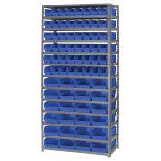 "13 Shelf Steel Shelving with (72) 4""H Plastic Shelf Bins, Blue, 36x18x72"