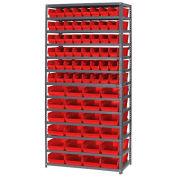 "13 Shelf Steel Shelving with (72) 4""H Plastic Shelf Bins, Red, 36x18x72"