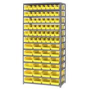 "13 Shelf Steel Shelving with (72) 4""H Plastic Shelf Bins, Yellow, 36x18x72"