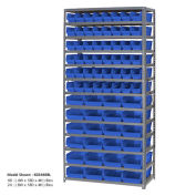 "13 Shelf Steel Shelving with (76) 4""H Plastic Shelf Bins, Blue, 36x18x72"