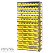 "13 Shelf Steel Shelving with (76) 4""H Plastic Shelf Bins, Yellow, 36x18x72"