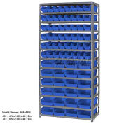 "13 Shelf Steel Shelving with (96) 4""H Plastic Shelf Bins, Blue, 36x18x72"