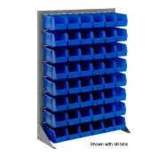 "Louvered Bin Rack With (42) Blue Stacking Bins, 35""W x 15""D x 50""H"
