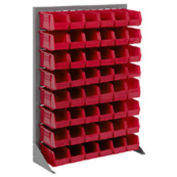 "Louvered Bin Rack With (42) Red Stacking Bins, 35""W x 15""D x 50""H"