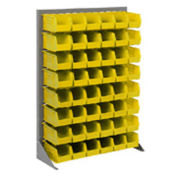 "Louvered Bin Rack With (42) Yellow Stacking Bins, 35""W x 15""D x 50""H"