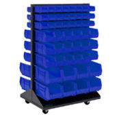Mobile Double Sided Floor Rack With (64) Blue Bins, 36x25.5x54