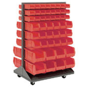 Mobile Double Sided Floor Rack With (64) Red Bins, 36x25.5x54