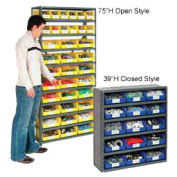 "Open Steel Shelving, 10 Shelves w/18 Bins, 36""X18""X73"""