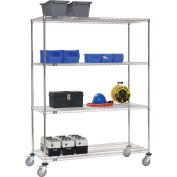 Stainless Steel Wire Shelf Truck, 72x24x80, 1200 Lb. Cap. with Brakes