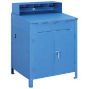 """Shop Desk w/Lower Cabinet, Pigeonhole Compartments, 34-1/2""""W x 30""""D x 51-1/2""""H, Blue"""