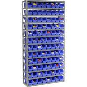 "13 Shelf Steel Shelving with (144) 4""H Plastic Shelf Bins, Blue, 36x12x72"