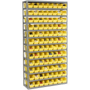 "13 Shelf Steel Shelving with (144) 4""H Plastic Shelf Bins, Yellow, 36x12x72"
