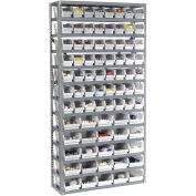 "13 Shelf Steel Shelving with (144) 4""H Plastic Shelf Bins, Ivory, 36x12x72"
