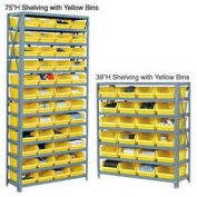 "13 Shelf Steel Shelving with (36) 4""H Plastic Shelf Bins, Yellow, 36x12x72"