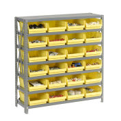 "7 Shelf Steel Shelving with (18) 4""H Plastic Shelf Bins, Yellow, 36x18x39"