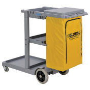 Janitor Cart Gray with 25 Gallon Vinyl Bag