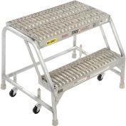 """Tri Arc WLAR002245 2 Step Aluminum Rolling Ladder, 24""""W Grip Step, W/O Handrails"""