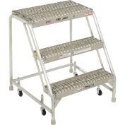 """Tri Arc WLAR003245 3 Step Aluminum Rolling Ladder, 24""""W Grip Step, W/O Handrails"""