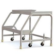 """Tri Arc WLAR002244 2 Step Aluminum Rolling Ladder, 24"""" W Ribbed Step, W/O Handrails"""