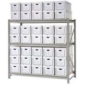 """Record Storage Rack Starter Unit, 35 Boxes, 72""""W x 18""""D x 72""""H"""