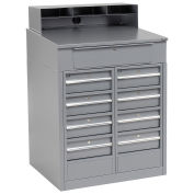 """Shop Desk with 9 Drawers, 34-1/2""""W x 30""""D x 51-1/2""""H, Gray"""
