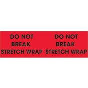 "3"" x 10"" ""Do Not Break Stretch Wrap"" Pallet Corner Labels, Fluorescent Red, 500 Per Roll"