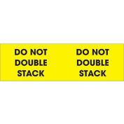 """3"""" x 10"""" """"Do Not Double Stack"""" Pallet Corner Labels, Fluorescent Yellow, 500 Per Roll"""