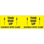 """3"""" x 10"""" This End Up - Handle With Care Pallet Corner Labels, Fluorescent Yellow, 500 Per Roll"""