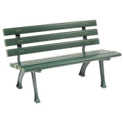 4'L Park Bench With Backrest, Recylced Plastic, Green