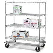 E-Z Adjust Wire Shelf Truck with Dolly Base, 60x24x61, 1600 Lb. Cap.