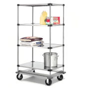 Stainless Steel Shelf Truck with Dolly Base, 48x24x93, 1600 Lb. Cap.