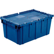 Distribution Container With Hinged Lid, 21-7/8x15-1/4x12-7/8, Blue