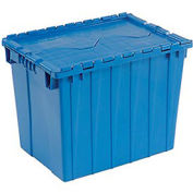 Distribution Container With Hinged Lid, 21-7/8x15-1/4x17-1/4, Blue