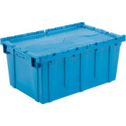 Distribution Container With Hinged Lid, 27-3/16x16-5/8x12-1/2, Blue