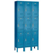 3 Tier Locker, 12 X 15 X 24, 9 Door, Ready To Assemble, Blue