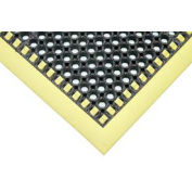 Apache Mills Hi-Visibility Safety Drainage Matting w/Grit Top 3-Sided Yellow Border, 38x64