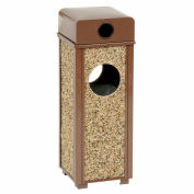 """Stone Panel Trash Weather Urn, 10-1/4"""" Square X 28""""H, Brown"""