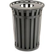 36 Gallon Outdoor Metal Waste Receptacle, Black