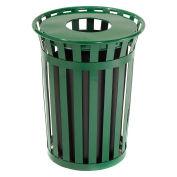 36 Gallon Outdoor Metal Waste Receptacle, Green