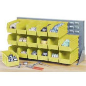 Louvered Bench Rack with (22) Yellow Premium Stacking Bins, 36x15x20