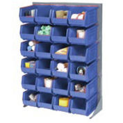 """Louvered Bin Rack With (58) Blue Stacking Bins, 35""""W x 15""""D x 50""""H"""